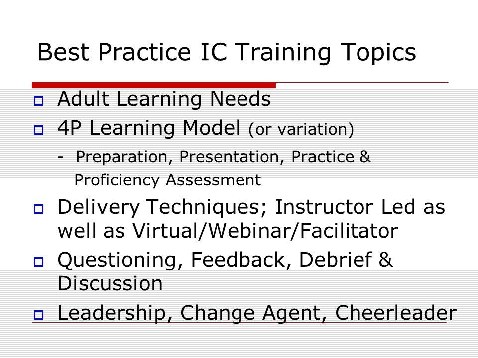 Best Practice IC Training Topics