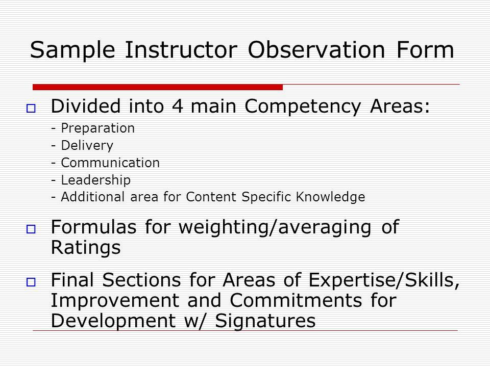 Sample Instructor Observation Form