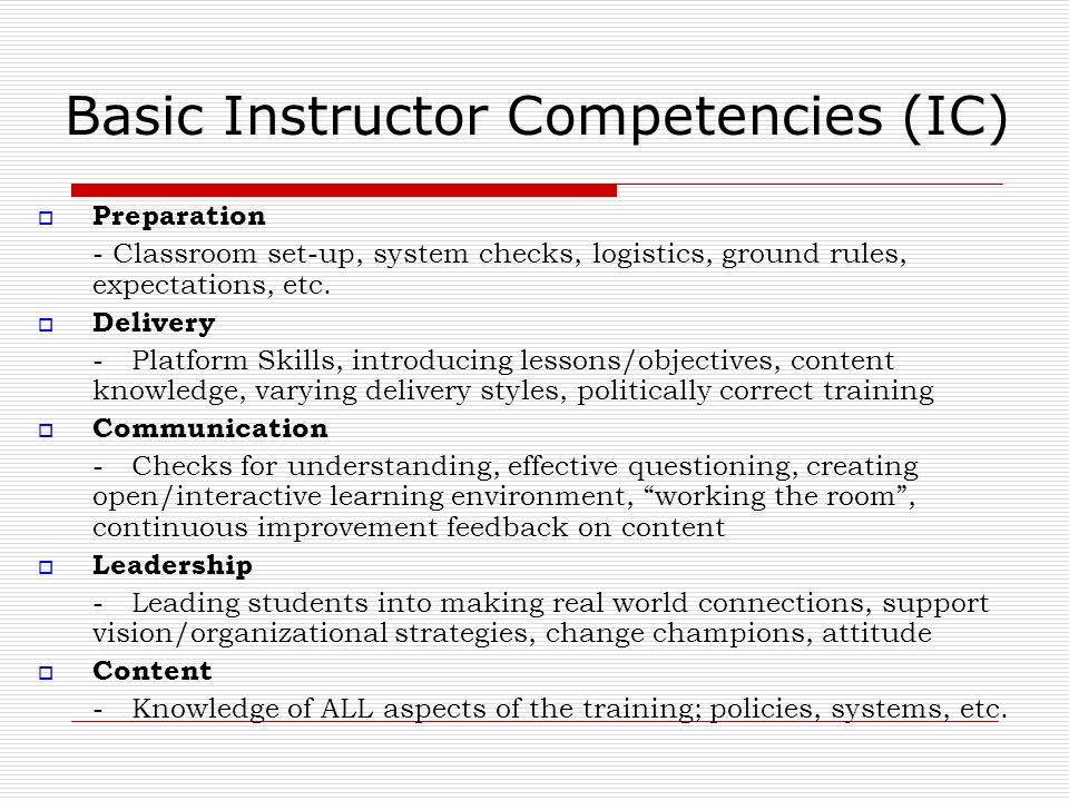 Basic Instructor Competencies (IC)