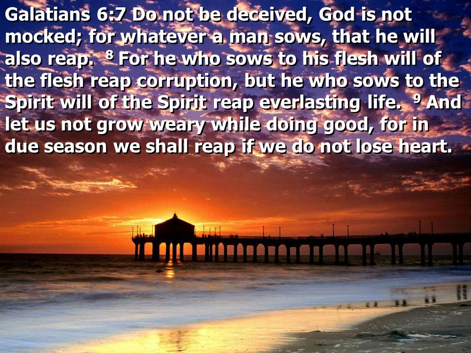 Galatians 6:7 Do not be deceived, God is not mocked; for whatever a man sows, that he will also reap. 8 For he who sows to his flesh will of the flesh reap corruption, but he who sows to the Spirit will of the Spirit reap everlasting life. 9 And let us not grow weary while doing good, for in due season we shall reap if we do not lose heart.