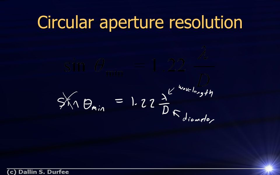 Circular aperture resolution