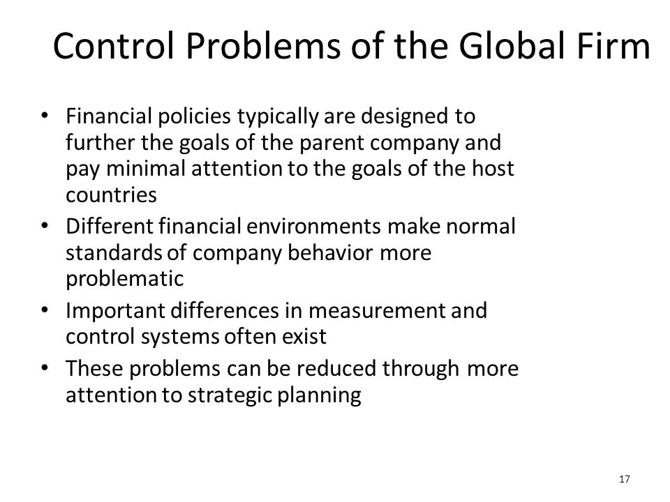 Control Problems of the Global Firm