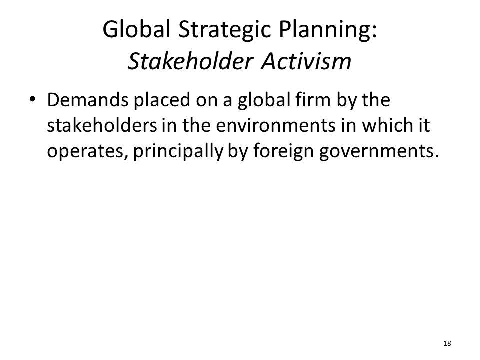 Global Strategic Planning: Stakeholder Activism