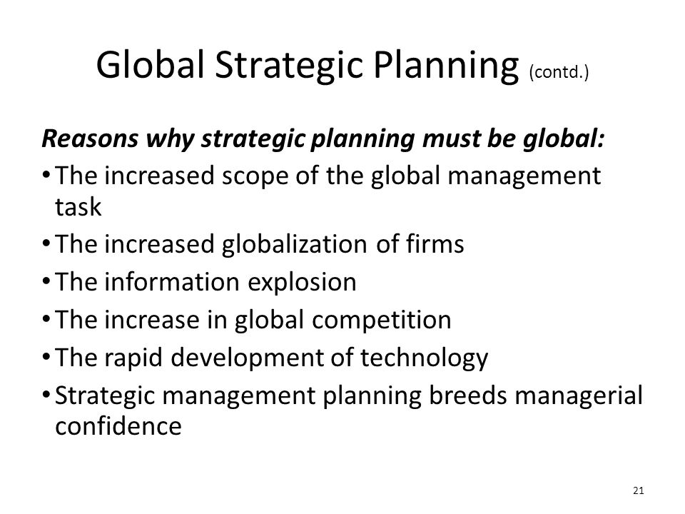 Global Strategic Planning (contd.)