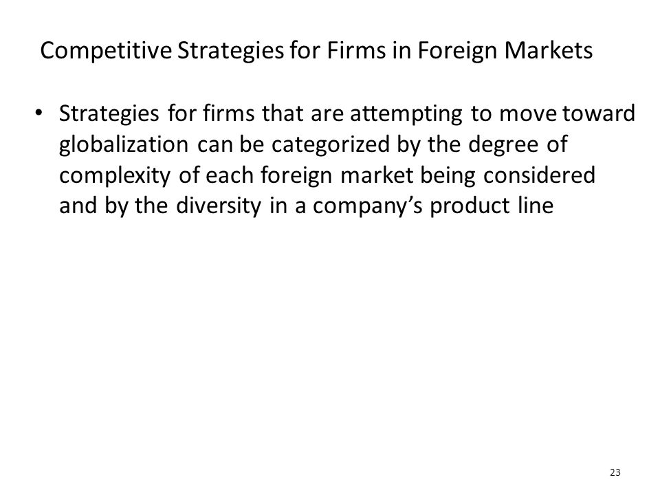 Competitive Strategies for Firms in Foreign Markets