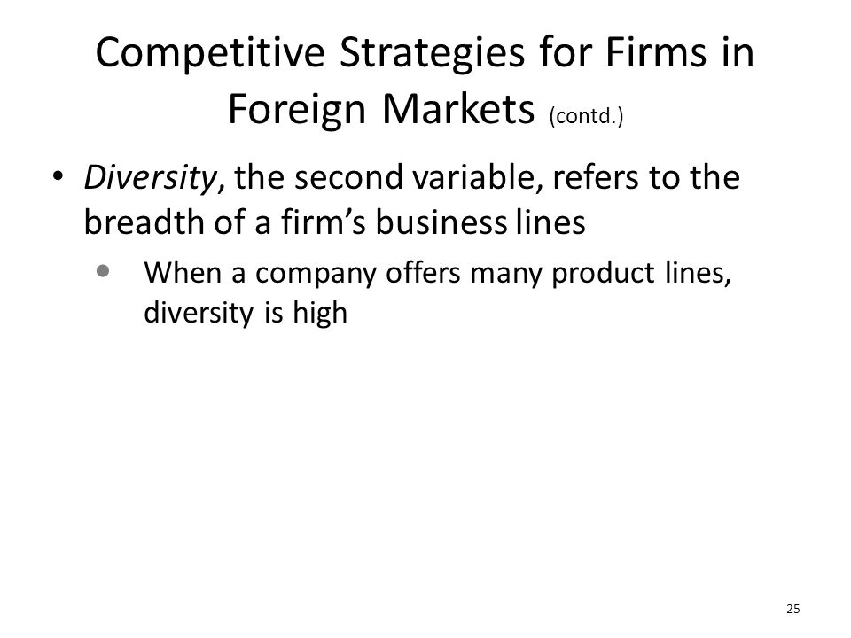Competitive Strategies for Firms in Foreign Markets (contd.)