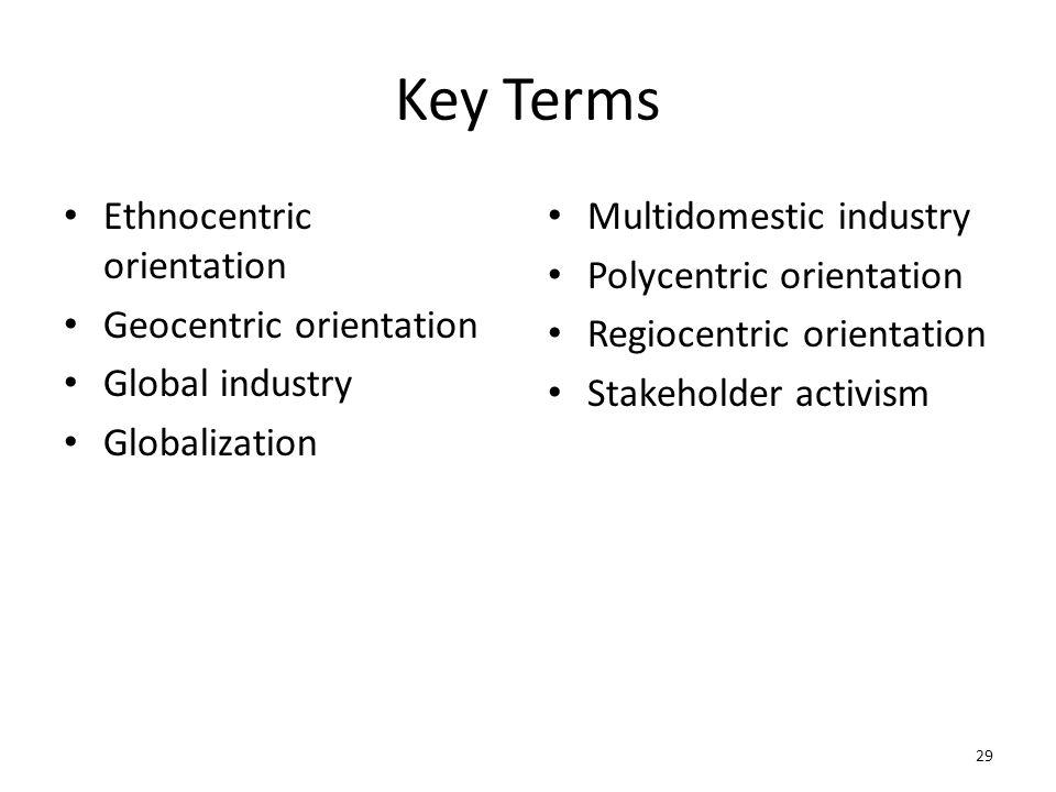 Key Terms Ethnocentric orientation Geocentric orientation