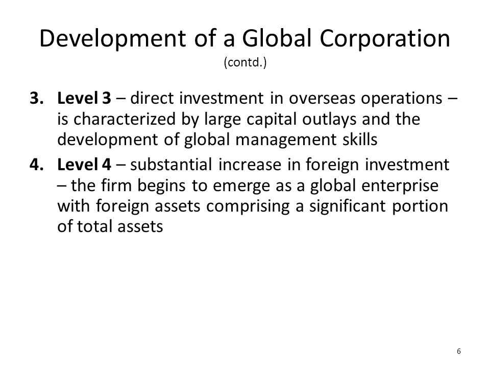 Development of a Global Corporation (contd.)