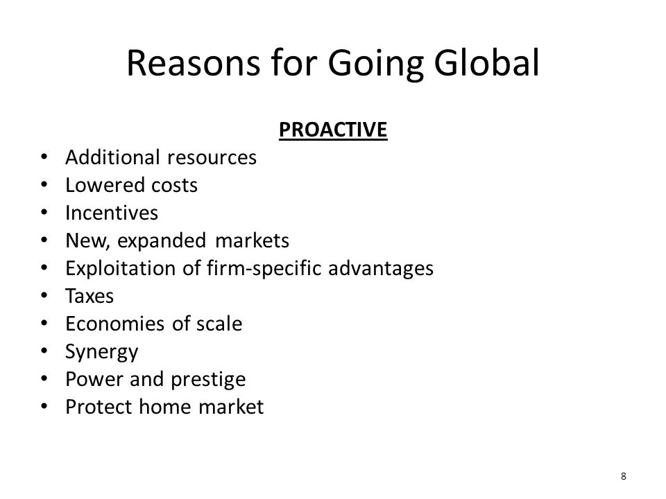 Reasons for Going Global