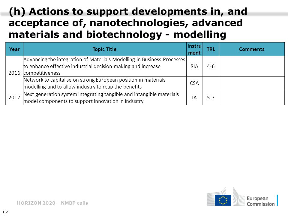 (h) Actions to support developments in, and acceptance of, nanotechnologies, advanced materials and biotechnology - modelling