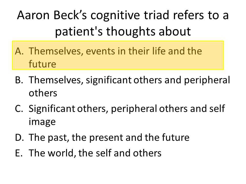 Aaron Beck's cognitive triad refers to a patient s thoughts about