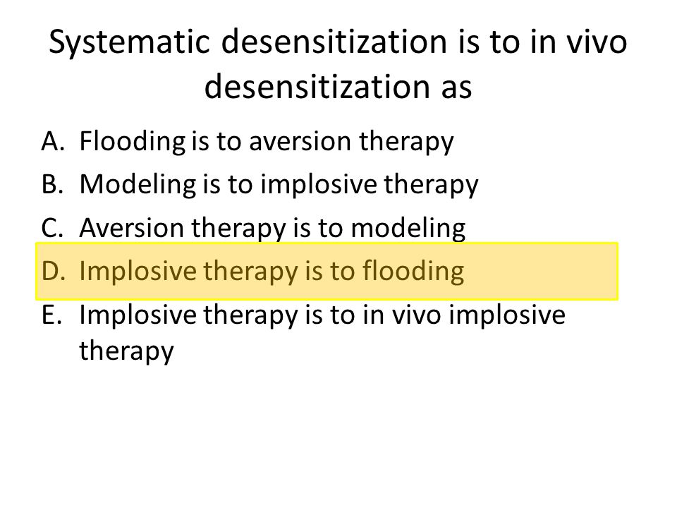 Systematic desensitization is to in vivo desensitization as