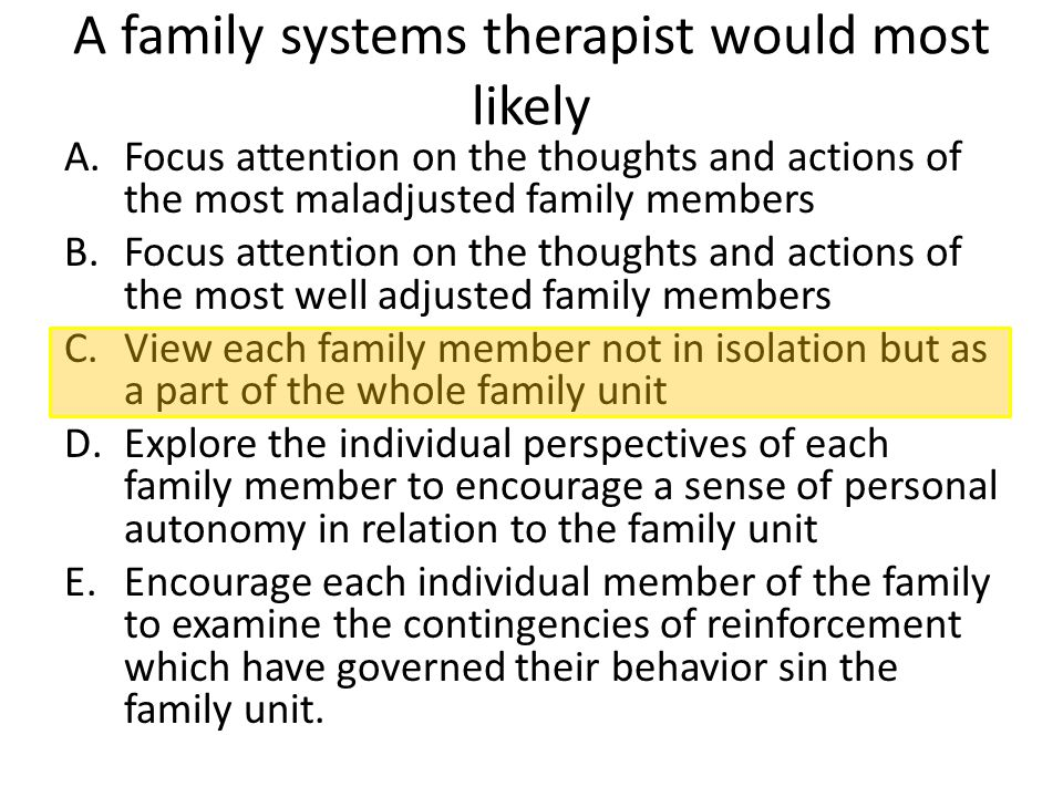 A family systems therapist would most likely