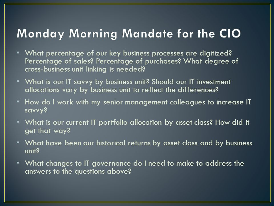 Monday Morning Mandate for the CIO