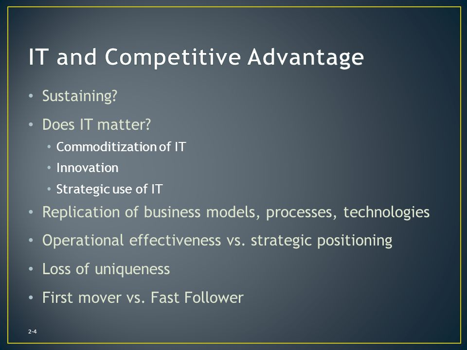IT and Competitive Advantage