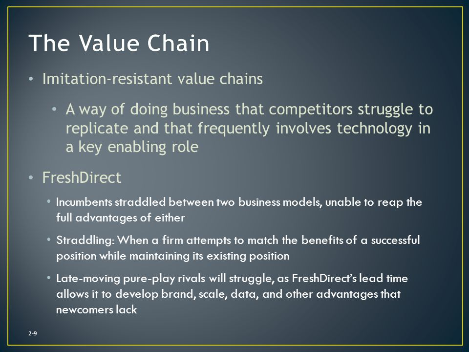 The Value Chain Imitation-resistant value chains