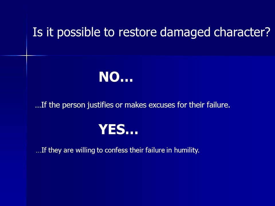 NO… YES… Is it possible to restore damaged character
