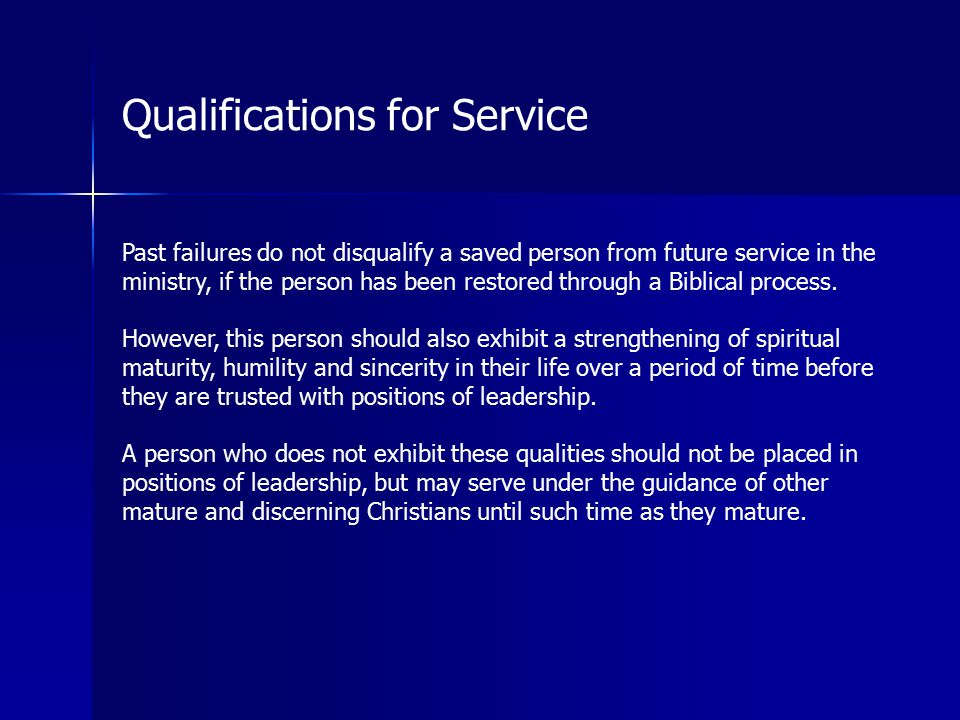 Qualifications for Service