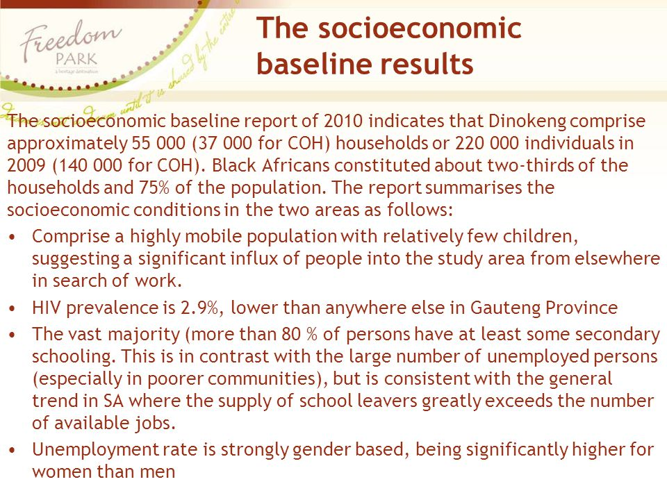 The socioeconomic baseline results