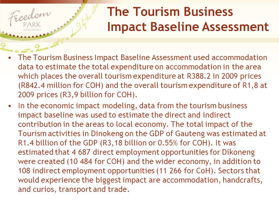 The Tourism Business Impact Baseline Assessment