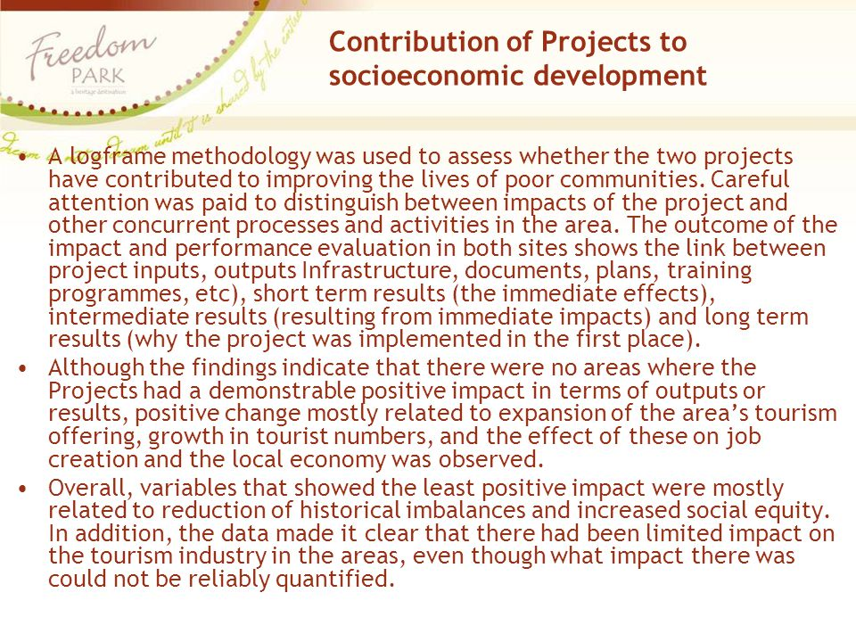 Contribution of Projects to socioeconomic development