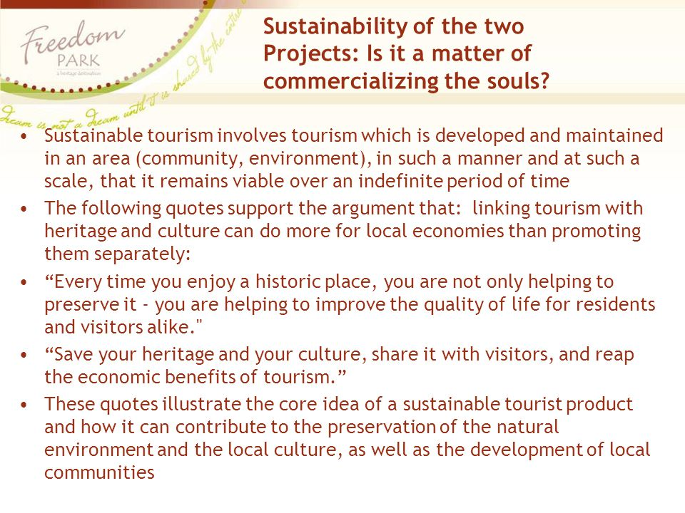 Sustainability of the two Projects: Is it a matter of commercializing the souls