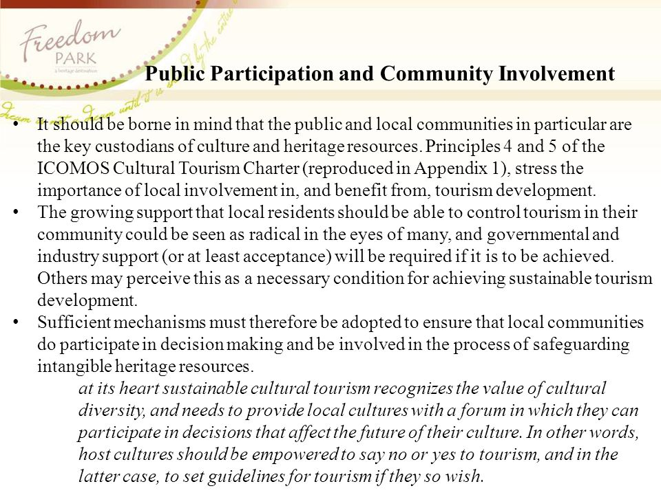 Public Participation and Community Involvement