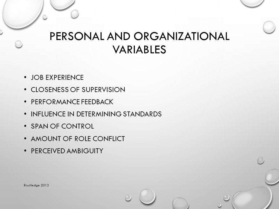 Personal and Organizational Variables