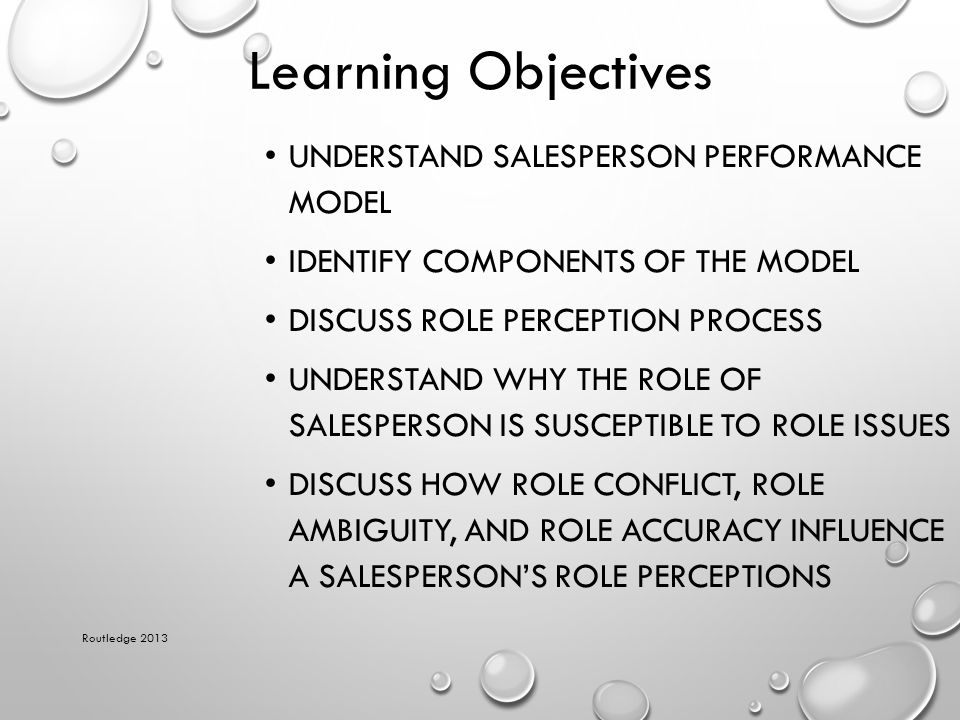 Learning Objectives Understand salesperson performance model
