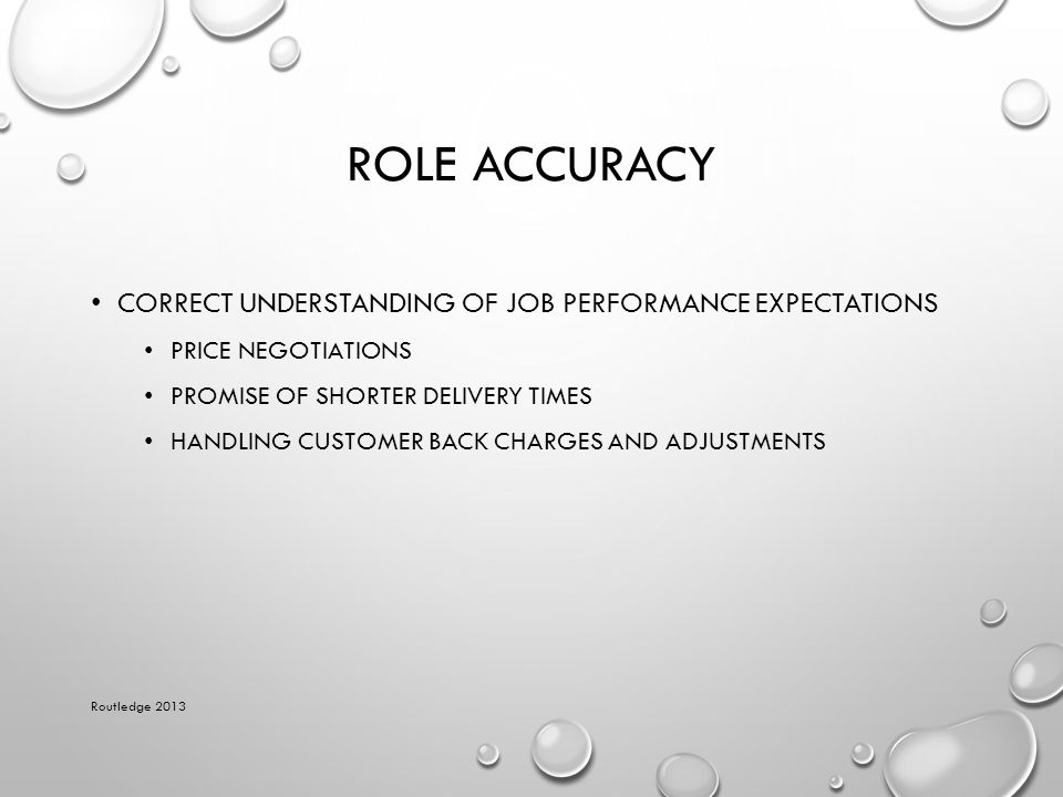 Role Accuracy Correct understanding of job performance expectations