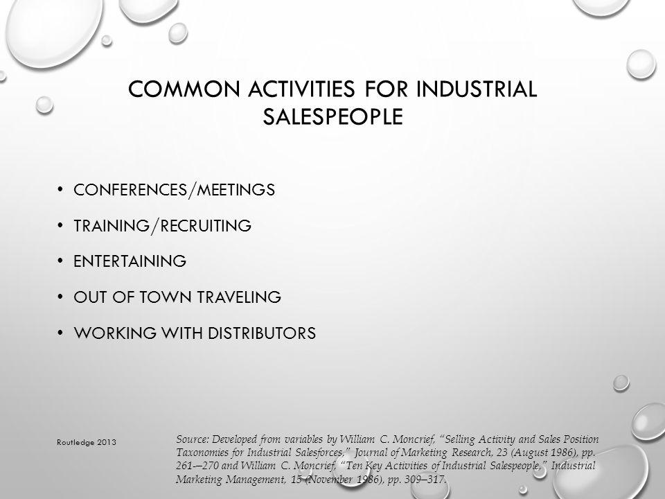 Common Activities for Industrial Salespeople