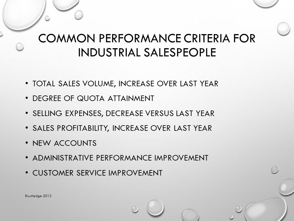 Common Performance Criteria for Industrial Salespeople