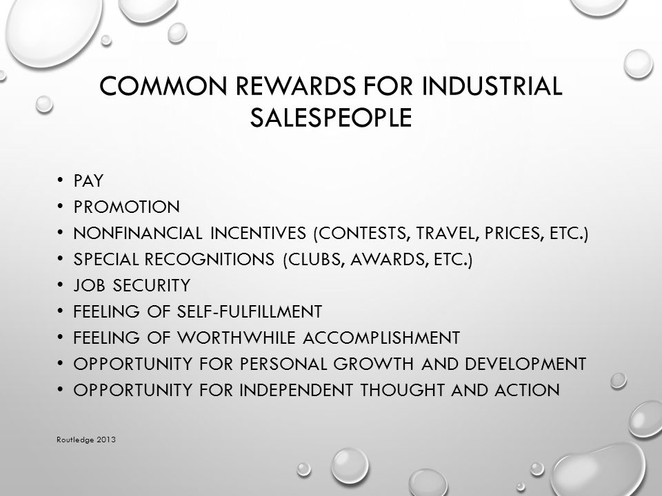 Common Rewards for Industrial Salespeople