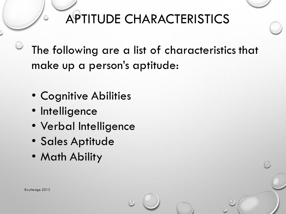 Aptitude Characteristics