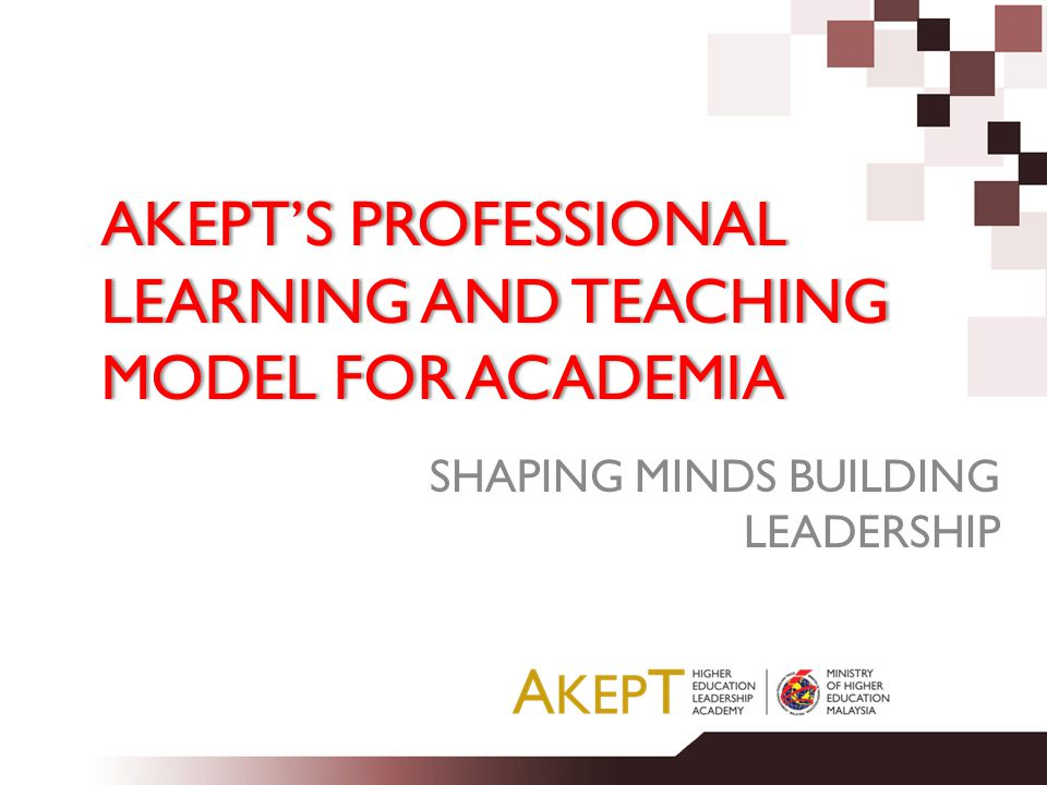 AKEPT'S PROFESSIONAL LEARNING AND TEACHING MODEL FOR ACADEMIA