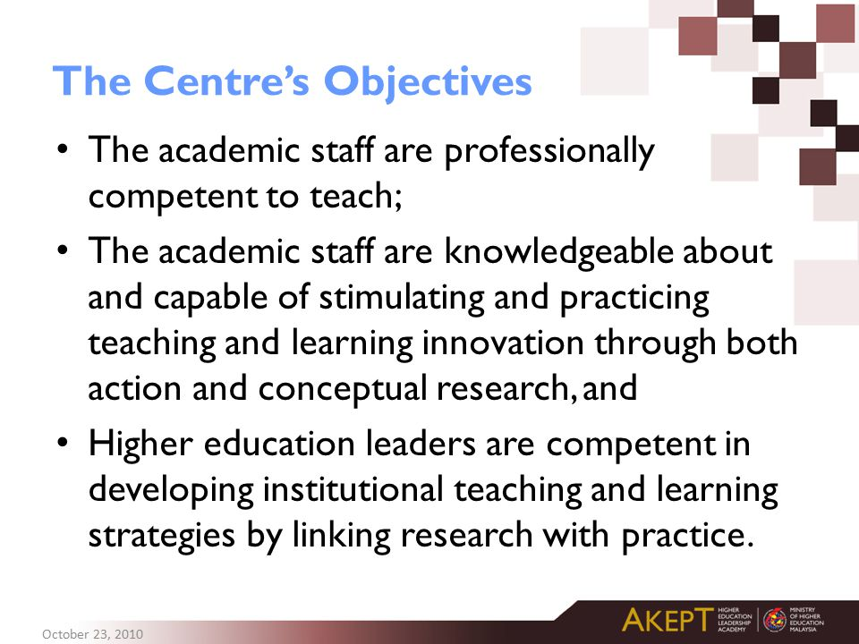 The Centre's Objectives