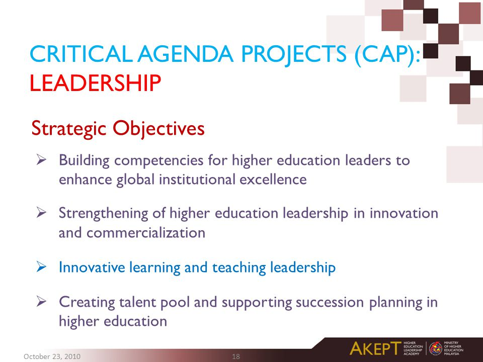 CRITICAL AGENDA PROJECTS (CAP): LEADERSHIP