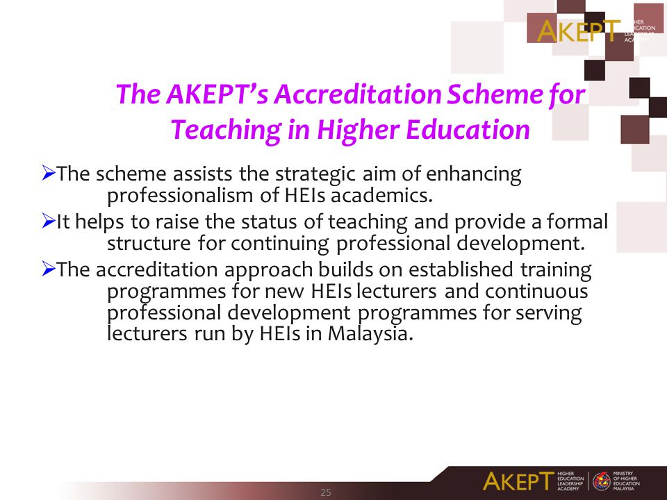 The AKEPT's Accreditation Scheme for Teaching in Higher Education