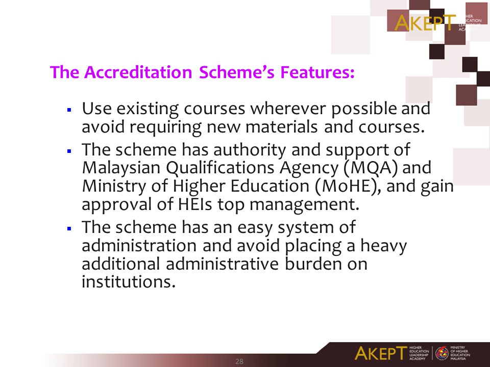 The Accreditation Scheme's Features: