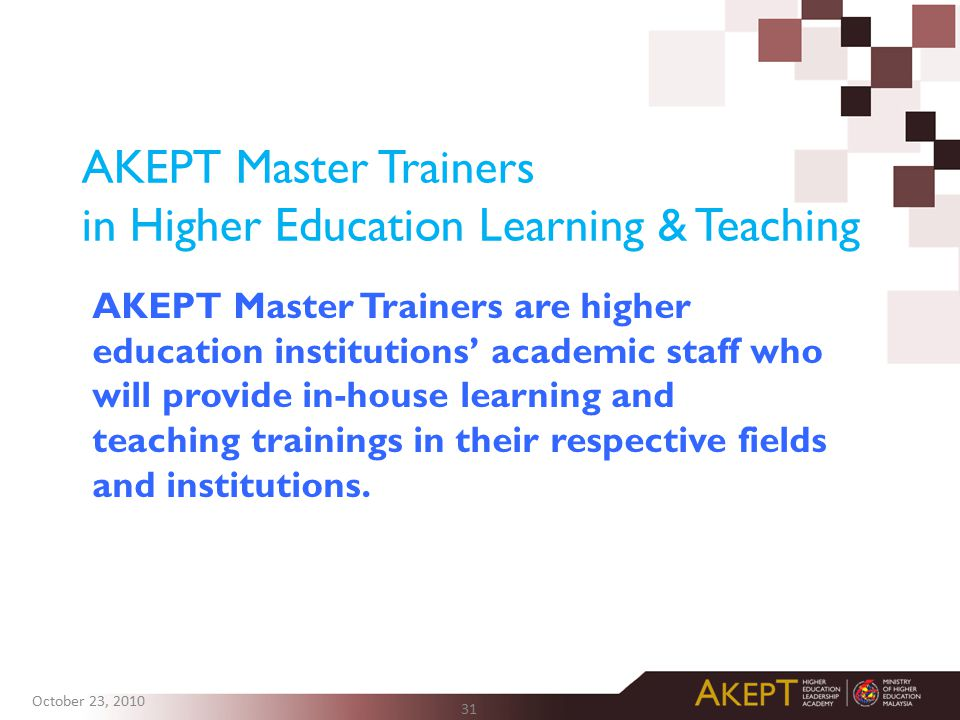 AKEPT Master Trainers in Higher Education Learning & Teaching