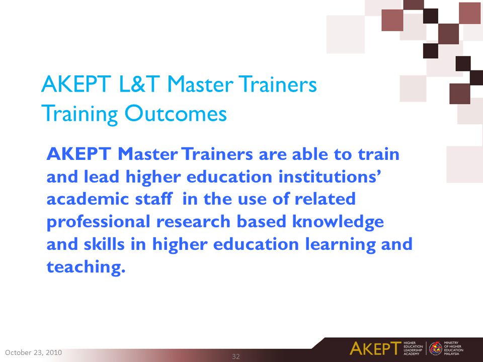 AKEPT L&T Master Trainers Training Outcomes