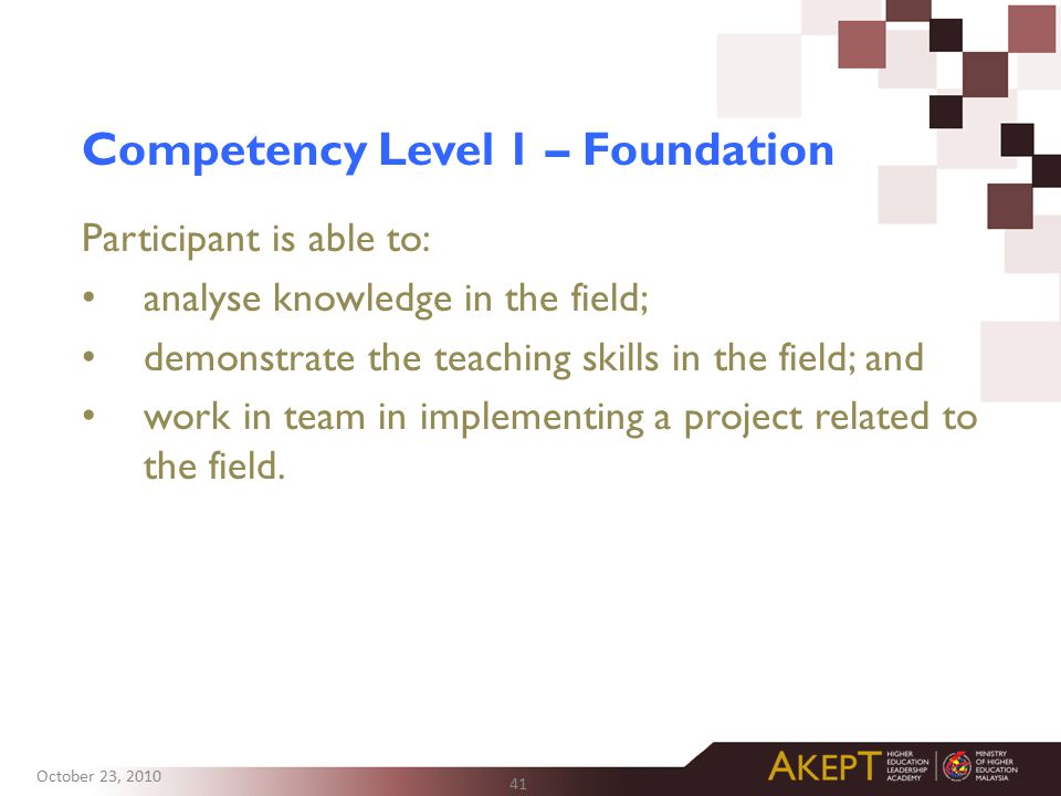 Competency Level 1 – Foundation