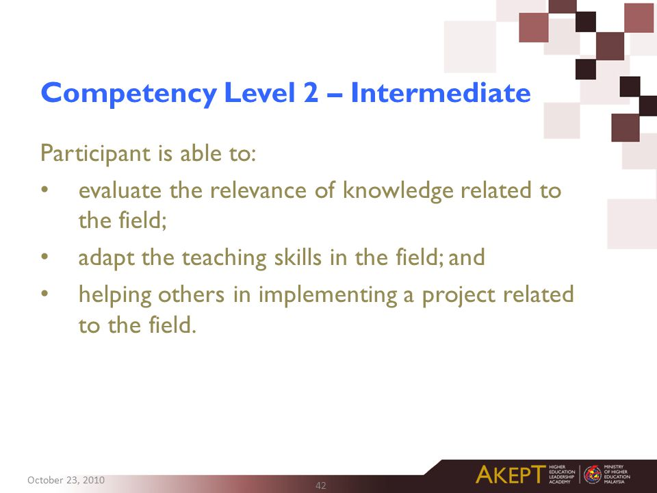 Competency Level 2 – Intermediate