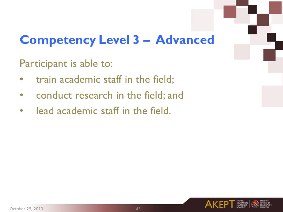 Competency Level 3 – Advanced