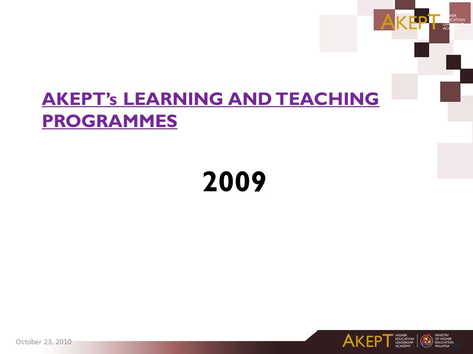2009 AKEPT's LEARNING AND TEACHING PROGRAMMES akeptmalaysia