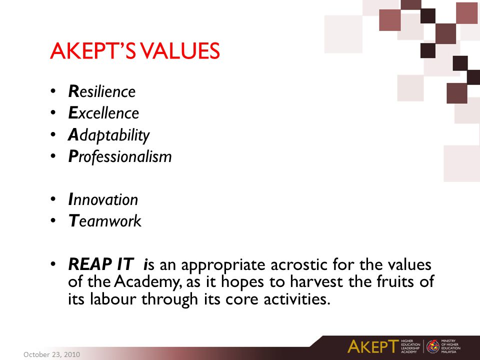 AKEPT'S VALUES Resilience Excellence Adaptability Professionalism