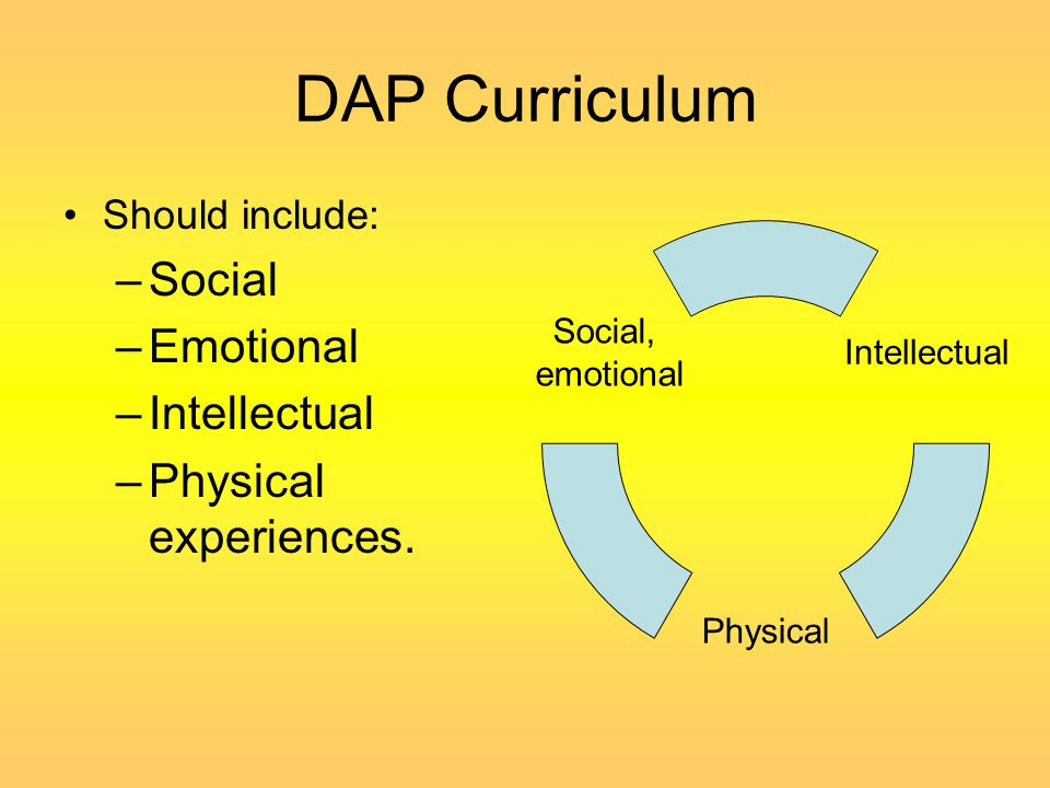 DAP Curriculum Social Emotional Intellectual Physical experiences.