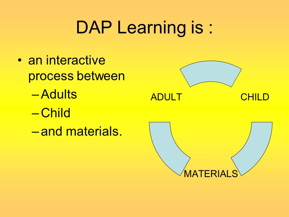 DAP Learning is : an interactive process between Adults Child