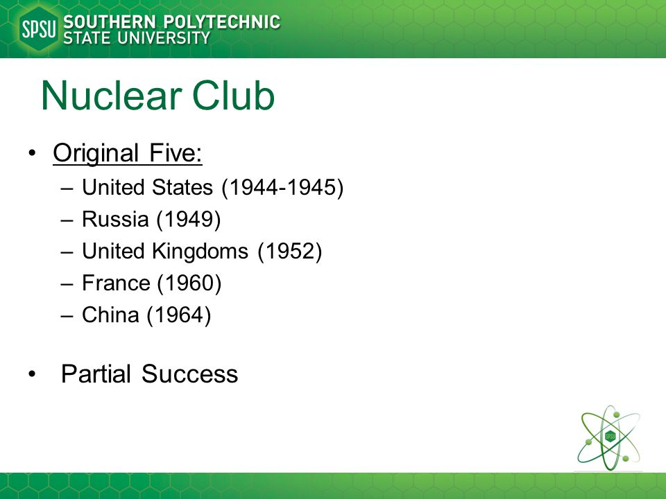 Nuclear Club Original Five: Partial Success United States (1944-1945)