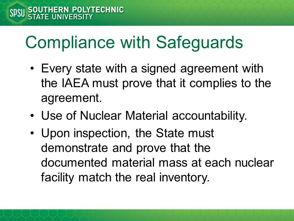 Compliance with Safeguards